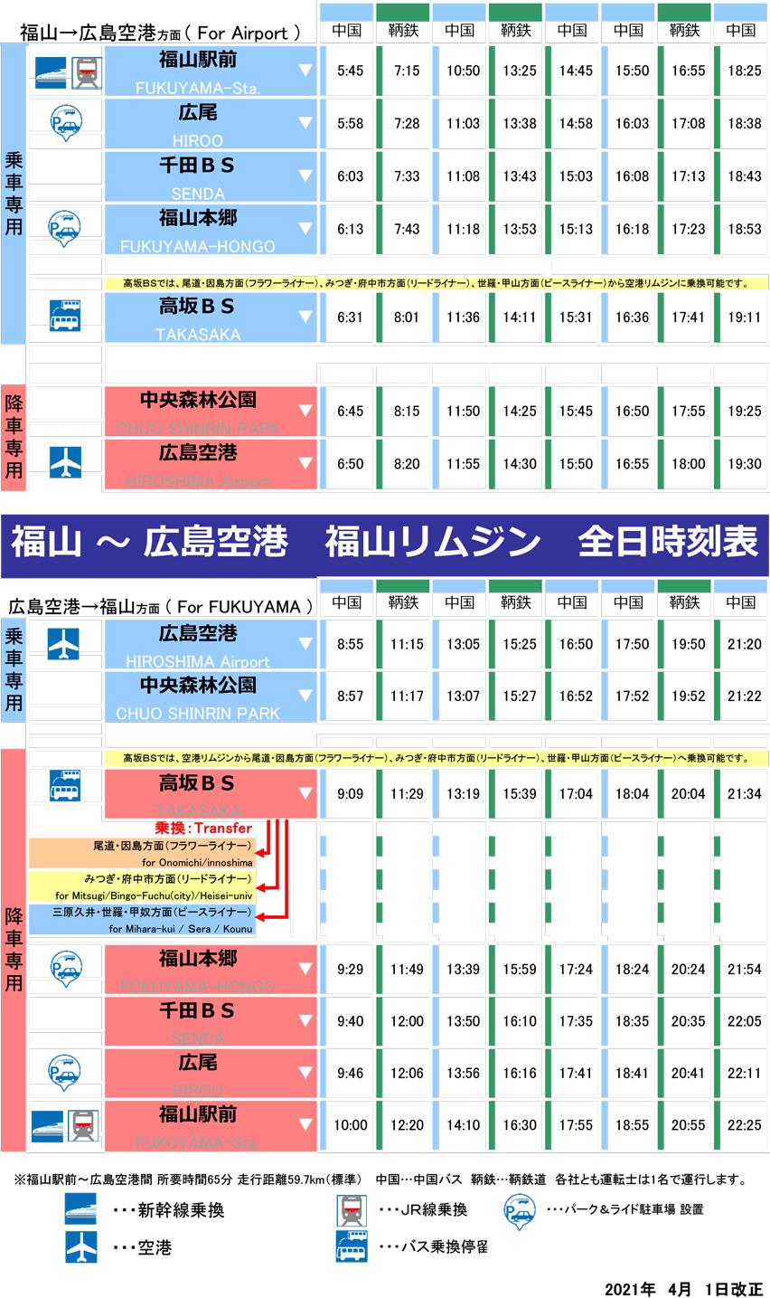 時刻表:福山 ⇔ 広島空港